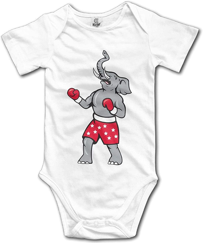 Animals Elephant Boxer Boxing Belt Baby Kids Unisex Baby Onesie Treasures Printed Short Sleeve One-Piece Bodysuit