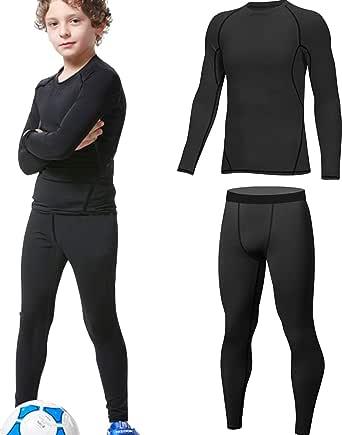 HOPLYNN - Juego de ropa interior térmica para niños, ropa interior funcional, ropa interior de esquí para jóvenes, transpirable, térmica, ropa interior cálida, para fútbol y esquí.