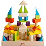 Large 56 PCS Rainbow Wooden Building Blocks Puzzles Educational Shape Learning Toys Set for Toddlers