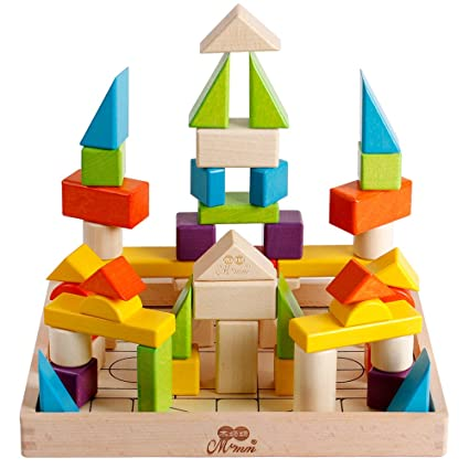 Wooden Building Stacking Blocks Set Kids Construction Building Toys 56pcs Educational Shape And Color Learning Toys For Toddlers Boys And Girls