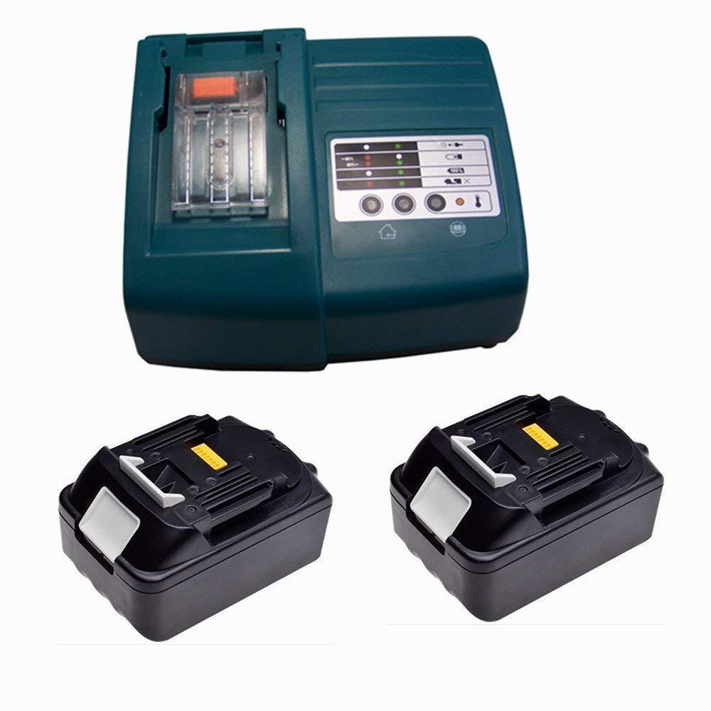 2X Battery and charger for Makita BL1830 BL1840 DC18RA DC18SC [charger 7.2 V-18V Li-Ion with Makita BL1830 18 V 3,0 Ah Li-ion] PowerWings