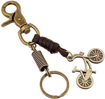Sucolin bicicleta llavero de piel de metal Vintage cadena llaveros ...