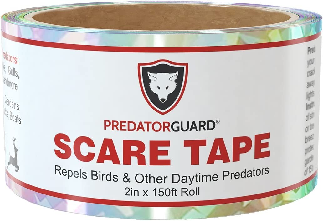 PREDATORGUARD Bird Repellent Reflective Scare Tape - Huge 150 Foot roll - thickest, Longest Lasting and Most Trusted - Pest Deterrent Control