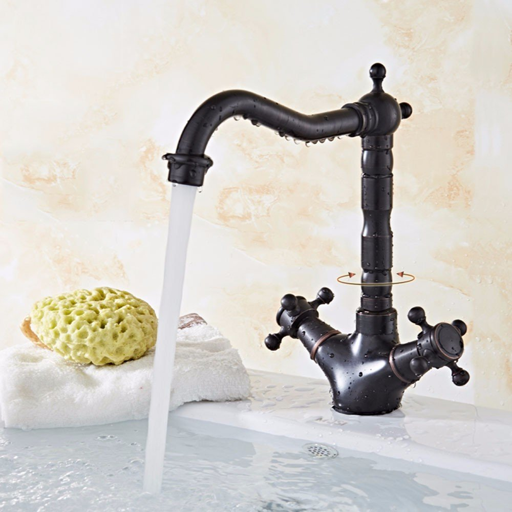 AWXJX Sink faucet European style copper wash black hot and cold ceramic sitting in line