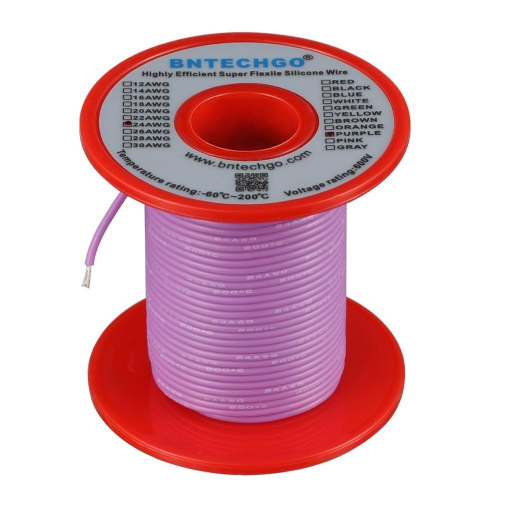 Bntechgo 40/brins de fil de cuivre Fil isol/é en silicone de calibre 24 AWG/-/Souple et r/ésistant aux temp/ératures /élev/ées