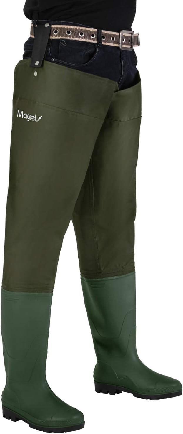 Magreel Pantalones de Pesca Impermeable Profesionales Waders Cuissardes para Hombres y Mujeres Wader Impermeable de PVC//Nylon con Correa Ajustable