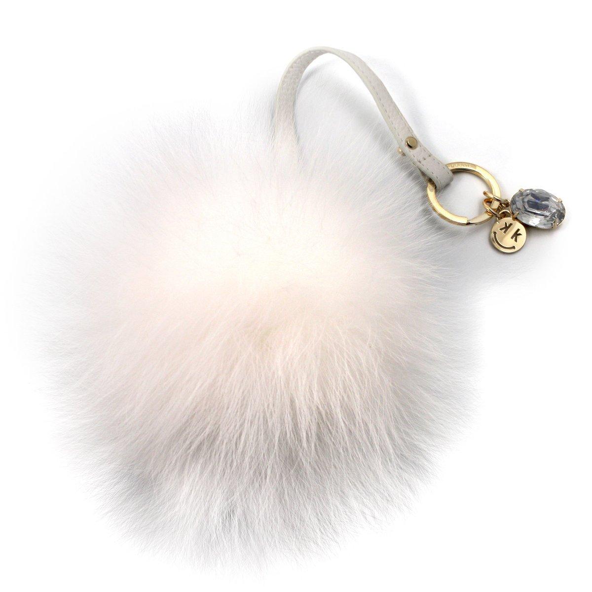 Kosette White Fox Fur Pom Pom