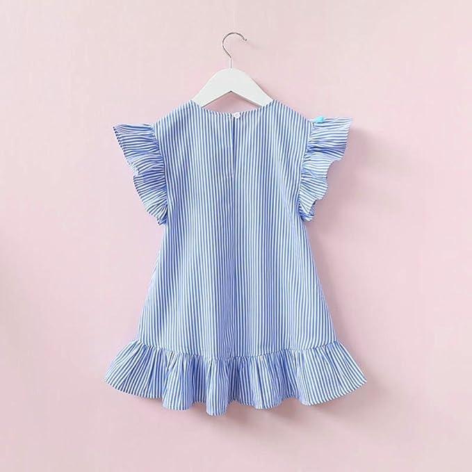 Vestidos niña Bebé ❤ Amlaiworld Ropa bebés Niñas Vestidos de volantes con  borlas a rayas niñas 30a8a67438f
