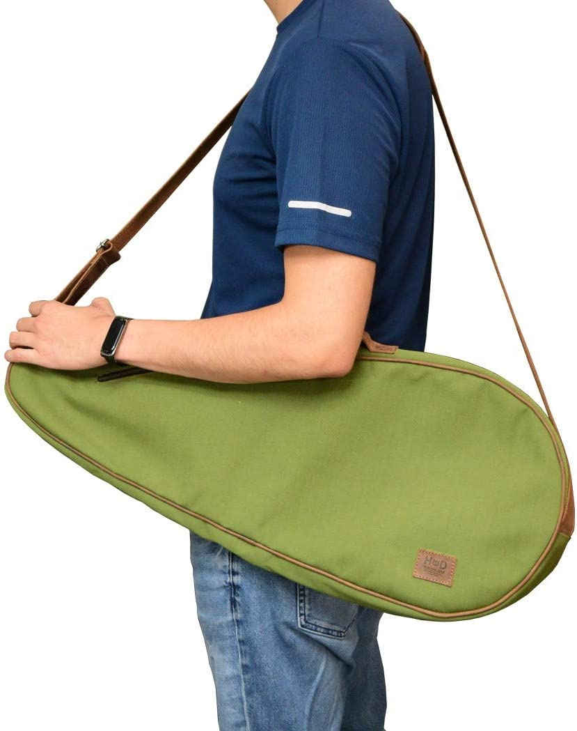 Storage Case Adjustable Strap Water Resistant Canvas Racquet Tennis Bag Handmade Includes 101 Year Warranty :: Olive Hide /& Drink Racket Length 27.25 in