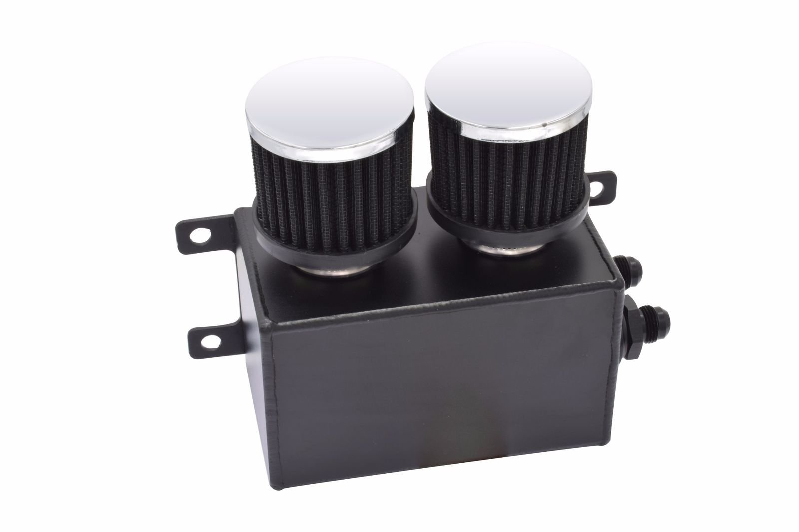 1200ml 1.2L Twin Baffle Dual Filter Engine Oil Catch Can Tank Reservoir AN8 (Black)