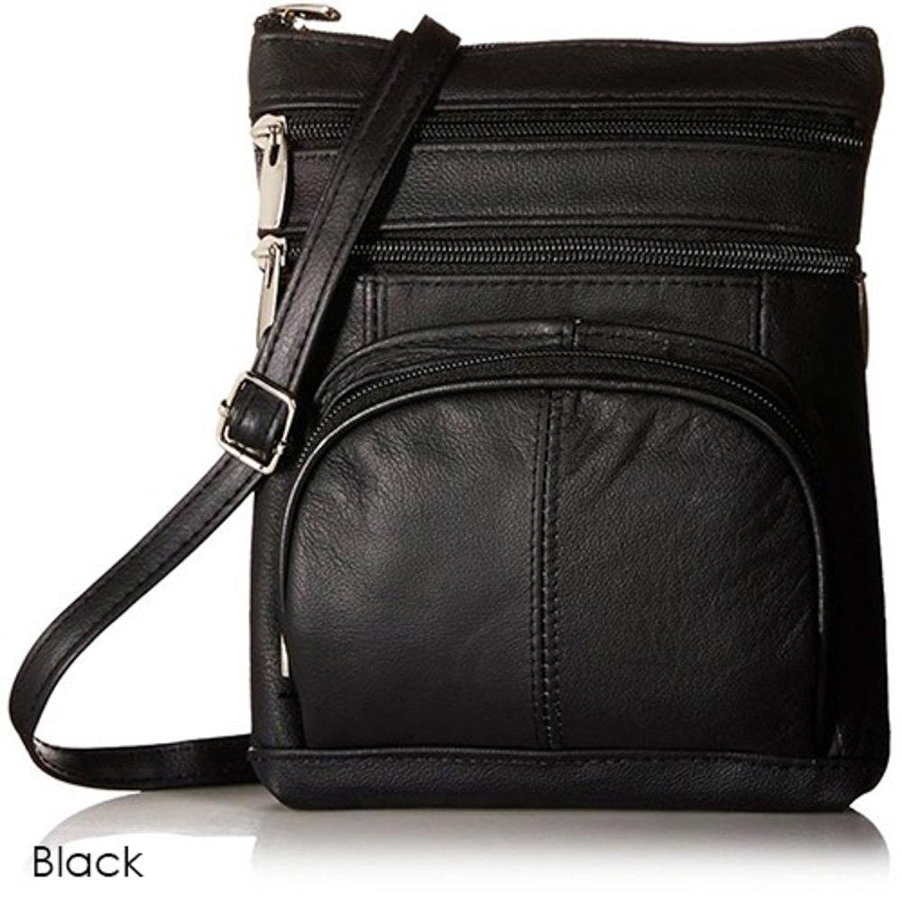 Maze Exclusive Super Soft Genuine Leather Crossbody Handbag (Black)