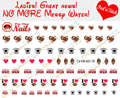 (Football Mom clear vinyl Peel and Stick nail art decals (NOT Waterslide). Set of 79 by One Stop)