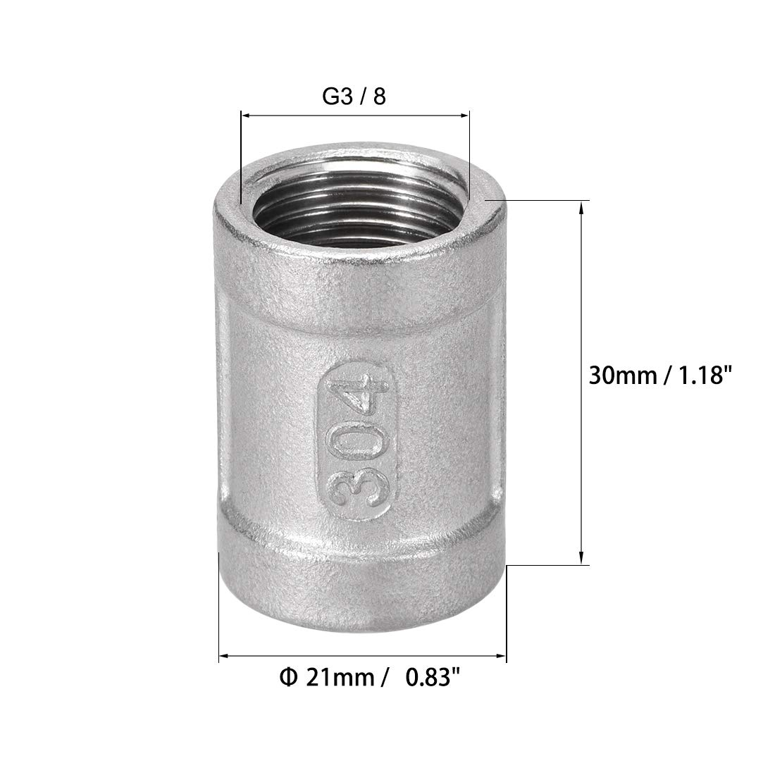 uxcell Stainless Steel 304 Cast Pipe Fittings Coupling 3//8 X 3//8 G Female 3pcs
