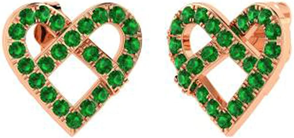 TrioStar Goegeous Mini Heart Stud Earrings With 14k Rose Gold Finish Round Green Emerald