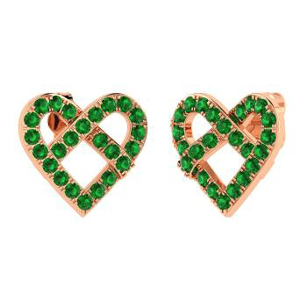 DTJEWELS 0.77 Ct Round Cut Green Emerald /& Simulated Diamond Drop Earrings In 14K Gold Plated Silver