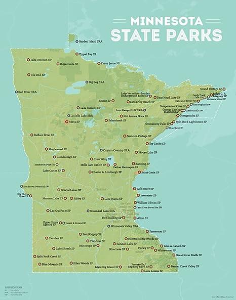 Best Maps Ever Minnesota State Parks Map 11x14 Print (Green & Aqua)