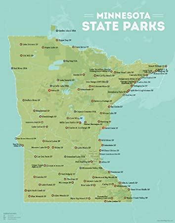 photograph about Printable Maps of Minnesota titled Most straightforward Maps At any time Minnesota Nation Parks Map 11x14 Print (Inexperienced Aqua)