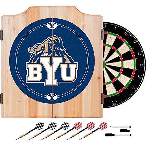 Brigham Young University Deluxe Solid Wood Cabinet Complete Dart Set - Officially Licensed! by TMG