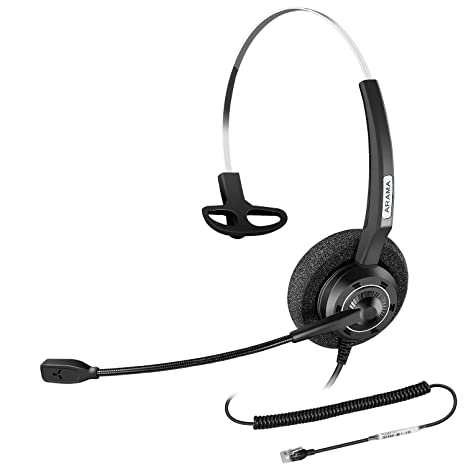 Arama Corded RJ9 Telephone Office Headset with Noise-Cancelling Microphone  for Nortel Polycom Plantronics ShoreTel Zultys Toshiba Aspire Dterm Norstar