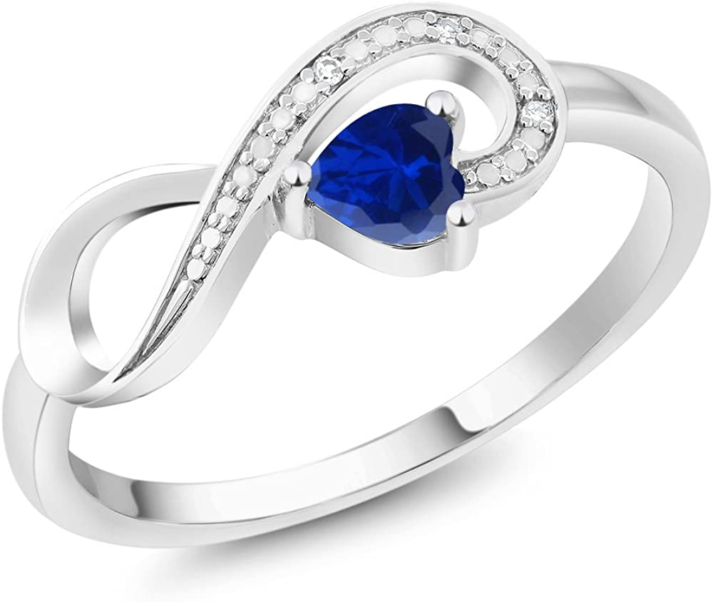 Gem Stone King 10K White Gold Blue Created Sapphire and...