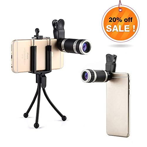 Landnics 8X18 HD Clip-on Phone Camera Lens Kit Universal Optical Zoom External Mobile Phone Telescope with Tripod, Retractable Phone Holder for iPhone 6S Plus/6S/6/5S/5C/5, Samsung Galaxy, Nexus, Sony