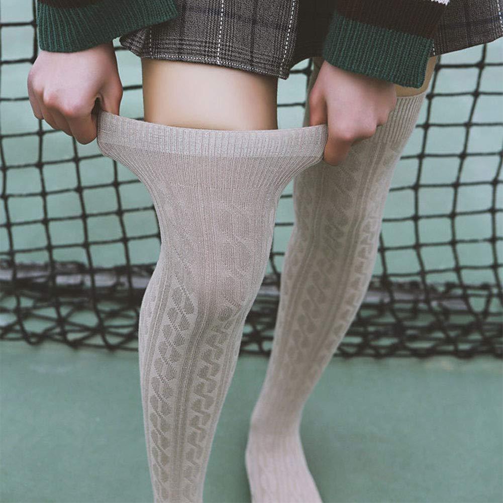 Yuccer 2 Pares Calcetines Hasta la Rodilla para Mujer Calcetines Altos Algodon Invierno Calcetin Largo de Punto para Ni/ña