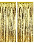 "Set of 2 Shiny Gold Metallic Foil Fringe Door & Window Curtain Party Decoration 3 X 8 (36"" X 96"") ""Value Pack of 2"""
