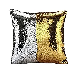 Fengheshun Reversible Sequins Pillowcase Mermaid Pillow Covers 40×40 cm Two Color Changing (Gold+Silver)