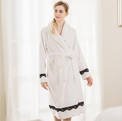 GAOYUHUA GY&H Ropa de dormir suave de lujo del albornoz para mujer, Lace Lady espesamiento