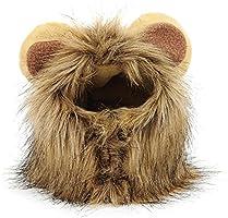 Gosear Mascota del traje de la peluca de melena de león con las espigas de vestido de fiesta de Navidad del perro del gato de Halloween arriba, talla m para Circunferencia del cuello 32cm