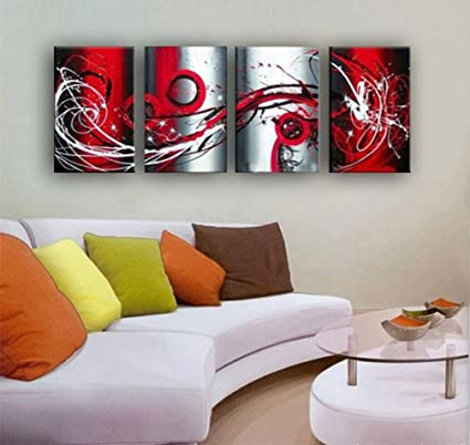 Attractive Amazon.com: OUTH Grey White Black Red Passion Large Wall Painting On Canvas  Monder Abstract Oil Painting Art Home Decoration Living Room Decor Home  Decor: ...