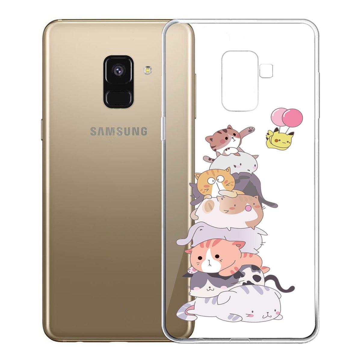 Custodia per Samsung Galaxy A8 2018 IJIA Trasparente Abbastanza Peach TPU Silicone Morbido Protettivo Coperchio Skin Custodia Bumper Protettiva Case Cover per Samsung Galaxy A8 2018 SM-A530 5.6