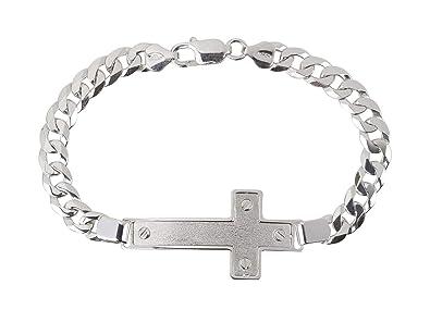 181e1ecd2 AKA Jewellery - Sterling Silver Rhodium Cross Bracelet for Men - Flat Cuban  Curb Chain 7.6