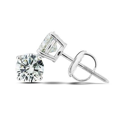dce845b89 Amazon.com: 1.00 Ct. T.W. Lab-Grown Diamond Stud Earrings 14K White ...