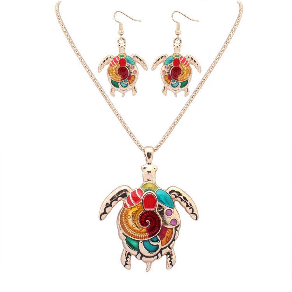 YJEdward Luxury Turtle Wedding 18K Gold Plated Jewelry Set Necklace Earrings Birthday Gift 2 Pcs