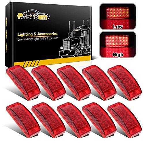 Partsam 10x 6 RED LED Rectangular Rectangle Side Marker Truck Trailer Light, Red 2
