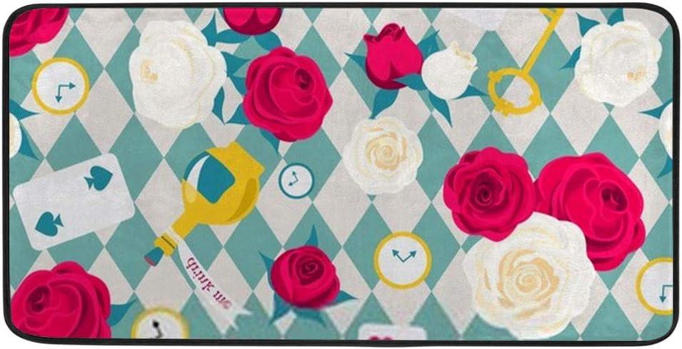 Kuizee Kitchen Rug Kitchen Mat ?Roses Card Key Clock Alice in Wonderland Blue Bathroom Rug Hallway Entry Rugs Non Slip Soft Water Absorbent 39×20 Inch