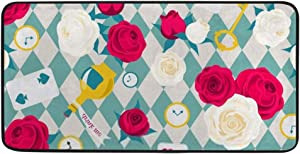 Kuizee Kitchen Rug Kitchen Mat ?Roses Card Key Clock Alice in Wonderland Blue Bathroom Rug Hallway Entry Rugs Non Slip Soft Water Absorbent 39×20 Inch