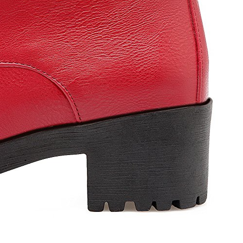 Low Color Kitten Heels Toe Red Women's AgooLar Material Assorted Boots Closed Top Soft Round aqw8TPxF