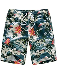 Mens Quick Dry Tropical Floral Camouflage Boardshort Swim Trunk Beach Shorts