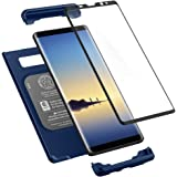Spigen Thin Fit 360 Galaxy Note 8 Case with Exact Slim Full Protection and Tempered Glass Galaxy Note 8 Screen Protector (2017) - Deepsea Blue