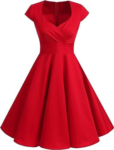 TALLA 3XL. Bbonlinedress Vestido Corto Mujer Retro Años 50 Vintage Escote Red 3XL