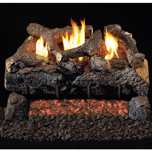 Peterson Real Fyre 30-inch Evening Fyre Charred Log Set With Vent-free Natural Gas Ansi Certified G18 Burner - Electronic Non-standing Pilot And Variable Flame Remote ()