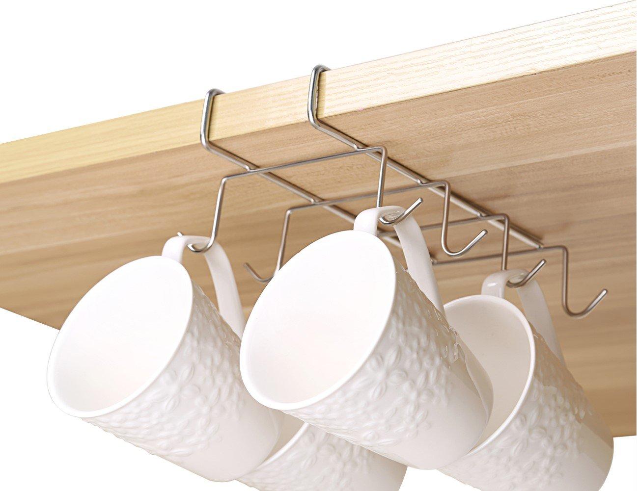 Bafvt Coffee Mug Holder - 304 Stainless Steel 8 Hooks Cup Rack Under Shelf, Fit for the Cabinet 0.8'' or Less