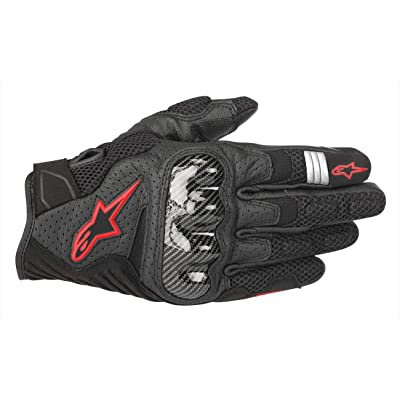 Alpinestars Men's SMX-1 Air v2 Motorcycle Riding Glove, Black/Fluorecent Red, Small: Automotive