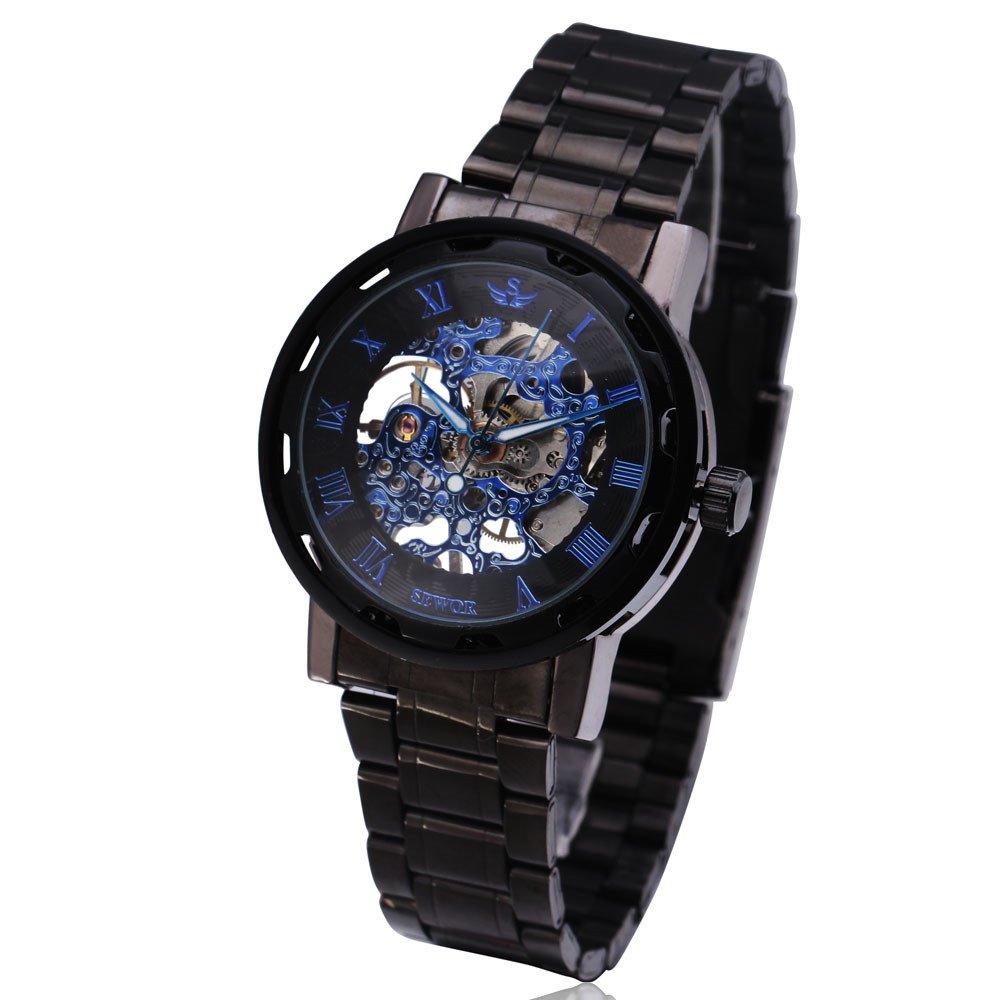 メンズラグジュアリークラシックスケルトンMechanicalステンレススチールWatch、ドレス自動手首hand-wind Watch Black(Blue) B0782X5B1R Black(Blue) Black(Blue)