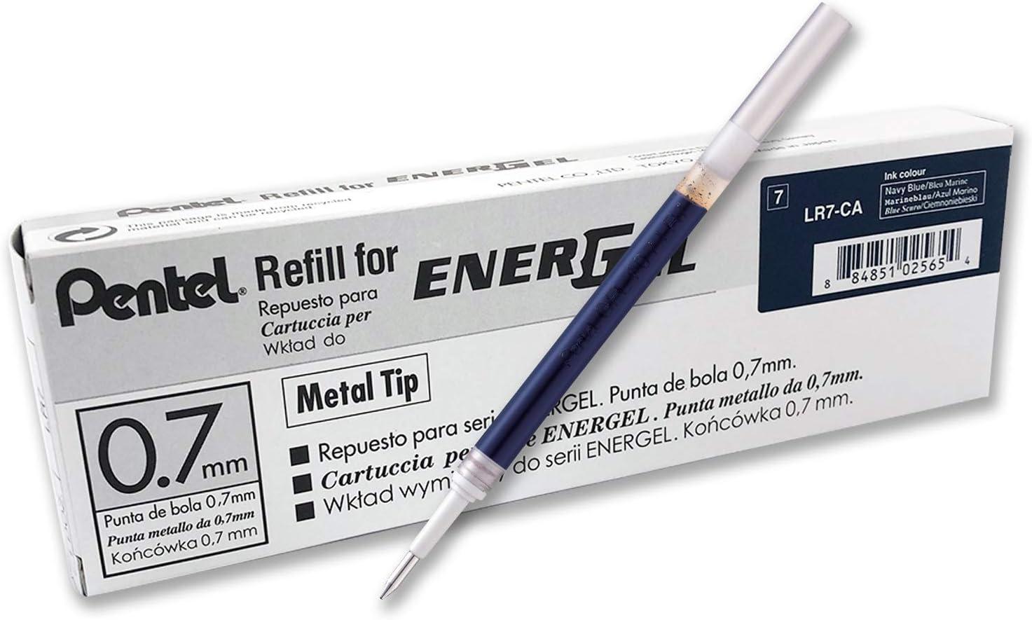 Pentel Refill Ink for EnerGel RTX Retractable Gel Pen, 12 Pack, 0.7mm, Medium Point, Navy Blue (LR7-CA)