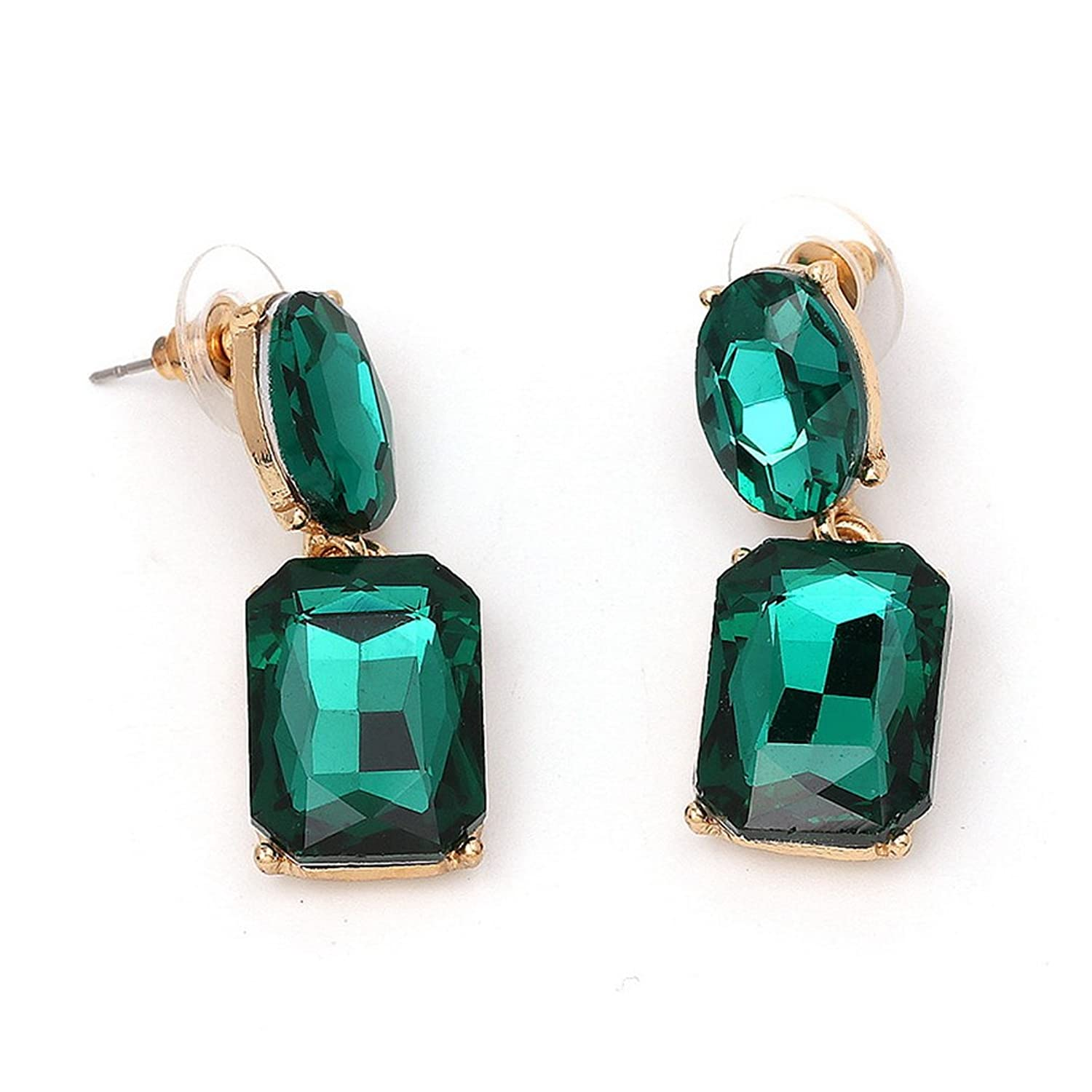 YAZILIND Green Emerald Cut Gold Plated Cubic Zirconia Stud Earrings for Women Wedding Party Gift wHFET0