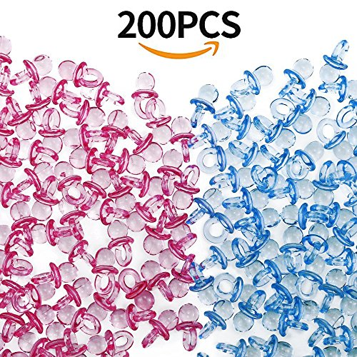 Etmact 200 Pieces Mini Clear Acrylic Baby Pacifiers For Baby Shower Decorations (Pink and Blue) Blue Pacifier Favors