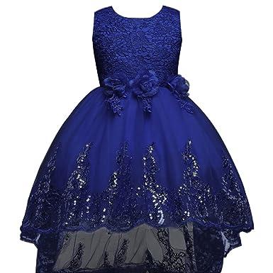 BOZEVON Girl Flowers Sleeveless Wedding Formal Dress Kids Princess Bridesmaid Christening Party Dresses 3-12